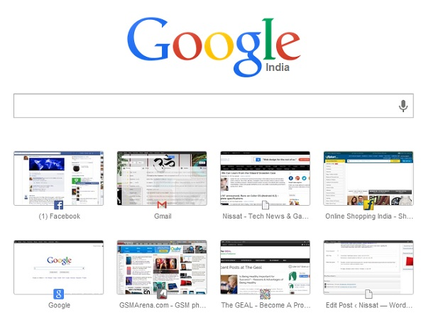 Chrome Home page with new Google logo and speed dial