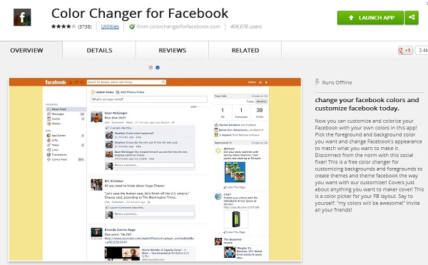Color Changer for Facebook - Google Chrome
