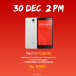Xiaomi Redmi Note 4G Sale to Commence on December 30 for Rs 9,999
